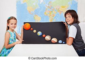 crianças, ciência, -, sistema, projeto, seu, apresentando, solar, lar