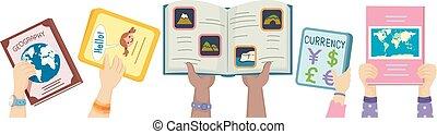 crianças, cima, ilustração, livros, mãos, geografia