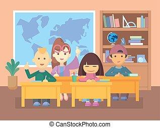 crianças, classroom.