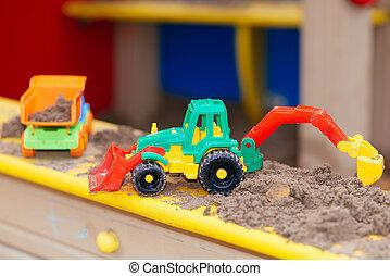 crianças, close-up, sandbox, brinquedos