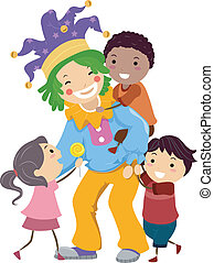 crianças, clowning, ao redor