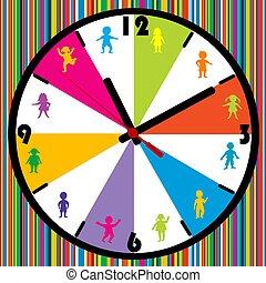 crianças, colorido, relógio, listrado, background.eps