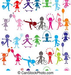 crianças, colorido, seamless, stylized, fundo, tocando