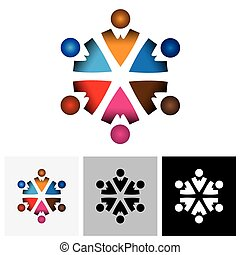 crianças, coloridos, ), abstratos, vetorial, logotipo, círculo, children(, ícone