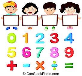 crianças, coloridos, números