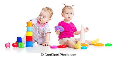 crianças, coloridos, torres, isolado, adorável, tocando