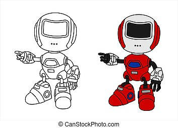 crianças, coloring., jogo, something., robôs, apontar, lado