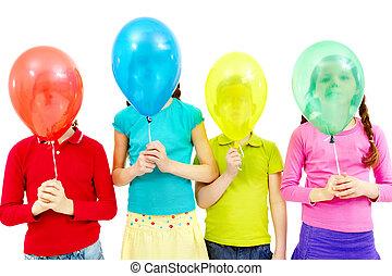 crianças, com, balões
