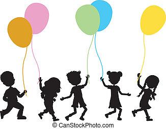 crianças, com, balões, fundo
