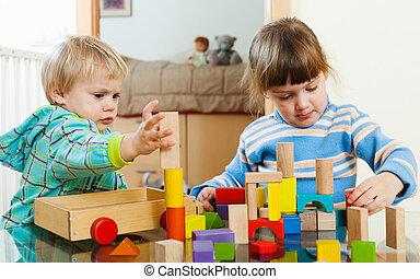 crianças, com, blocos madeira