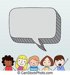 crianças, com, borbulho fala