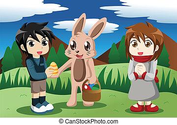 crianças, com, bunny easter