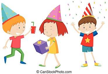 crianças, com, chapéus partido