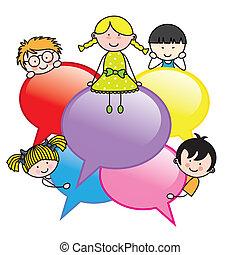 crianças, com, diálogo, bolhas