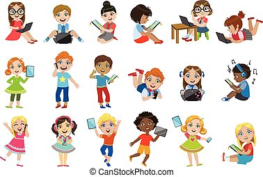 crianças, com, dispositivos, jogo