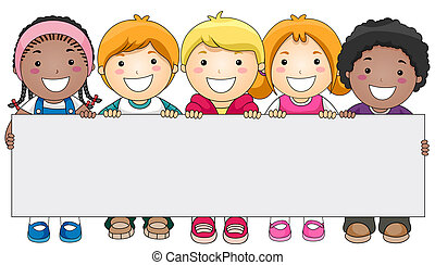 crianças, com, em branco, tábua