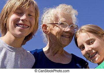 crianças, com, grandm