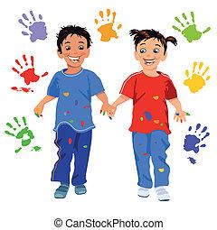 crianças, com, handprint