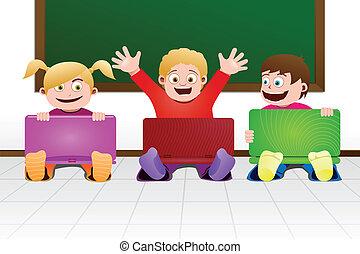 crianças, com, laptop, em, sala aula