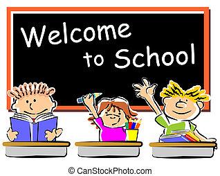 crianças, com, laptops, em, escola