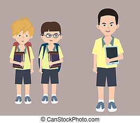 crianças, com, livros, olhar, criança, com, tabuleta, caricatura