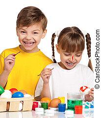 crianças, com, ovos páscoa