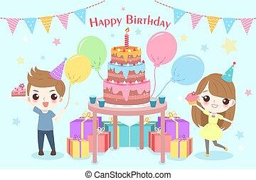 crianças, com, partido aniversário