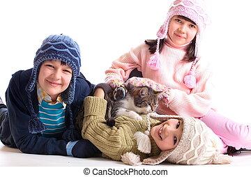 crianças, com, seu, gato