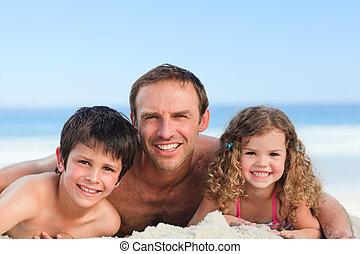 crianças, com, seu, pai