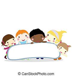 crianças, com, tábua, fundo