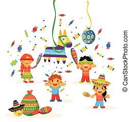 crianças, comemorar, posada, quebrar, a, tradicional, burro,...