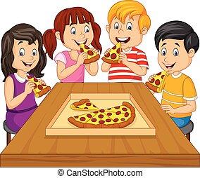 crianças comendo, caricatura, junto, pizza