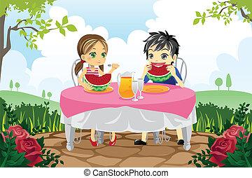 crianças comendo, melancia, em, um, parque