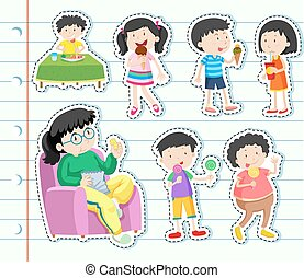 crianças comendo, muitos, adesivo, doces, desenho