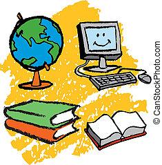 crianças, computador