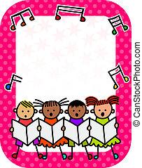 crianças, concerto, cartaz