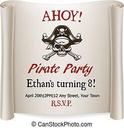 crianças, convidar, aniversário, modelo, partido, pirata