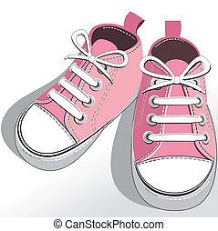 crianças, cor-de-rosa, sapatos