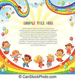 crianças, corrediça baixo, ligado, um, rainbow., coaster rolo, ride., modelo