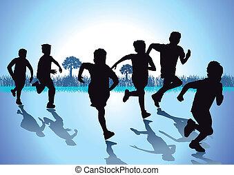 crianças, corrida