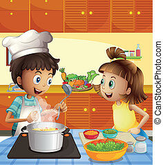 crianças, cozinhar, em, a, cozinha