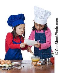 crianças, cozinhar