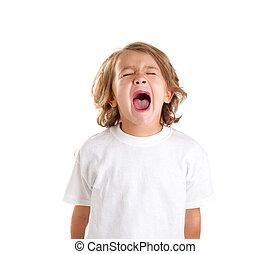 crianças, criança, gritando, expressão, branco