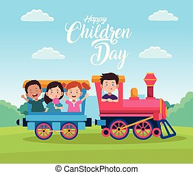 crianças, crianças, dia, trem, feliz, tocando, celebração