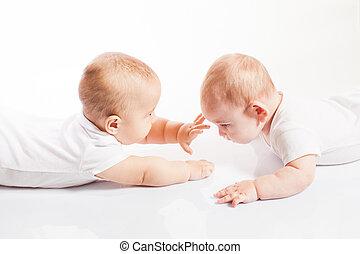 crianças, cute, jogando