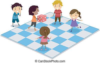 crianças, dado jogo