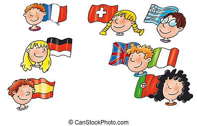 crianças, de, diferente, nações