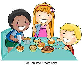 crianças, decorando, cupcakes