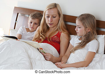 crianças, dela, mãe