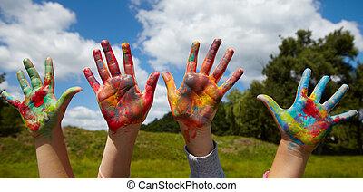crianças, delinear, tintas